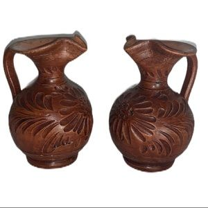 Two  vintage ceramic vases made to look wooden